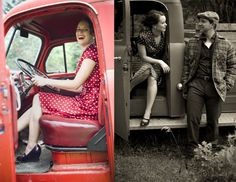 Love these engagement pictures in this vintage style!