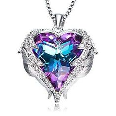 Purple Heart Romantic Swarovski Necklace Fashion Jewelry Valentines Womens Gift #ANCREU #Pendant