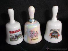 trio de campanas de porcelana Montreal Canada y Niagara