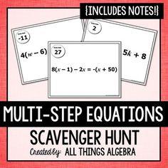 Multi-Step Equations (Variables on Both Sides): Scavenger Hunt