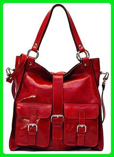 Floto Unisex Personalized Initials Embossing Livorno Bag in Red Polished  Calf-Skin Leather 72cf66799d