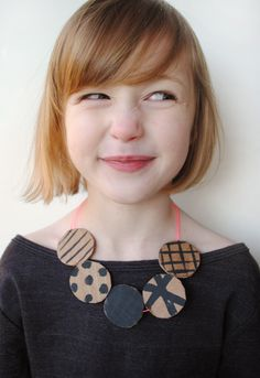 Mermag: DIY Carboard Necklace and this little girls haircut is darling!