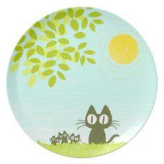 Sun & Leaves & Black Cat Plate ! :D #cat #Plate #leaves #sky #kitten