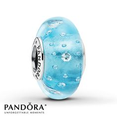 Pandora Blue Glass Charm Clear CZ Sterling Silver