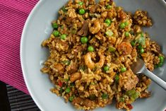 Leftover pork fried rice with prawns
