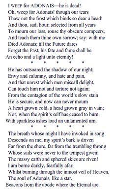An Elegy on the Death of John Keats by Percy Bysshe Shelley (1792–1822). http://www.annabelchaffer.com/