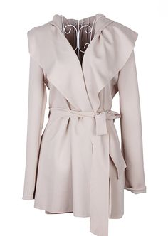 Apricot Hoodie Belt Waist Open Long Coat -- $26