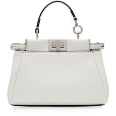 Fendi Peek-A-Boo Micro Leather Tote (1 693 AUD) ❤ liked on Polyvore featuring bags, handbags, tote bags, white, mini tote, white leather tote bag, handbags totes, shopping tote and leather handbags