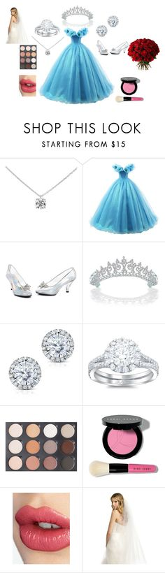 """A Cinderella Wedding"" by lbaker-ct on Polyvore featuring Tiffany & Co., Bling Jewelry, Kobelli, Bobbi Brown Cosmetics, Charlotte Tilbury, Cadeau and RTR Bridal Accessories"