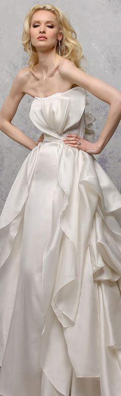 yumi katsura s2016 bridal strapless straight across tiered ball gown wedding dress