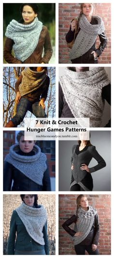 7 Knit and Crochet Hunger Games Katniss Patterns Roundup by truebluemeandyou.Have you wanted to knit or crochet a Katniss Huntress Cowl? There are many more patterns, both free and pay, than there were a few years ago.For many more Hunger Games DIYs go here:truebluemeandyou.tumblr.com/tagged/hunger-gamesDIY Knit Katniss Huntress Cowl FREE Pattern from Craft Foxes here.Skill Level: EASY  DIY Knit Katniss Huntress Cowl $5.00 Pattern