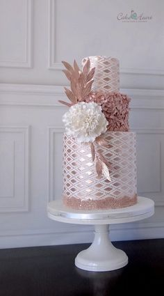 Rose gold metallic geometric wedding cake
