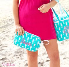 Viv  Lou Aqua Seahorse Accessory Bag  #MonogramLife #Monogram #Beach #Summer