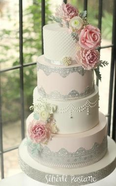 Silver Lace Wedding Cake by Sihirli Pastane - http://cakesdecor.com/cakes/280147-silver-lace-wedding-cake