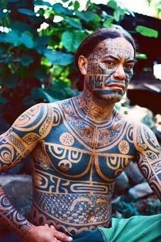 A Man Displays His Traditional, Full Body Tattoos in the Marquesas Islands Photo. - A Man Displays His Traditional, Full Body Tattoos in the Marquesas Islands Photographic Print by Dm - Tribal Tattoos, Hot Tattoos, Black Tattoos, Body Art Tattoos, Girl Tattoos, Tatoos, Turtle Tattoos, Flower Tattoos, Sleeve Tattoos