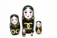 Matryoshka Coco Chanel Gold, Very beautiful and quality. 5 piece wooden nesting doll . Dolls are covered with several layers of lacquer to protect artwork. Decorated with Swarovski crystals. LIMITED VERSION READY TO SHIP  Description: - Real linden wood. - Glossy oil lacquer. - Even