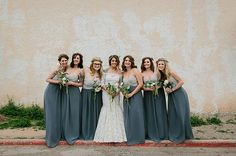 Bridesmaids in gray Alfred Angelo dresses