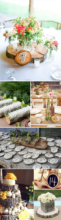 Decoracion de boda con troncos de madera. Ideas para tu boda Chic Wedding, Rustic Wedding, Our Wedding, Green Wedding, Romantic Weddings, Unique Weddings, Fiesta Party, Table Flowers, Table Arrangements