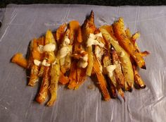 Roasted sweet potato and butternut chips with honey and rosemary