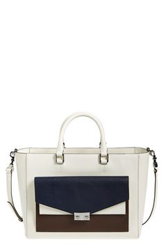 Tory Burch 'T-Lock' Colorblock Leather Tote available at #Nordstrom
