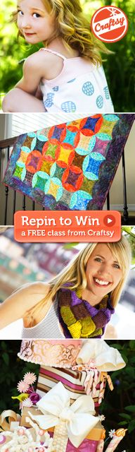 """We are giving away a free online Craftsy class of your choice for every 20 Repins! Simply click the image and register for Craftsy (it only takes a second and it's free!) or sign in with your existing account. Next, come back and click """"Repin"""" on this image! The more Repins it gets, the more chances of winning you'll have! Click """"Repin"""" for a chance to win!"""