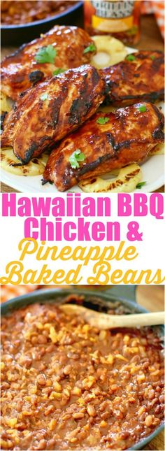 Grilled Hawaiian BBQ Chicken with Pineapple Honey Chipotle Grillin' Beans (Bbq Chicken Meals) Hawaiian Dishes, Hawaiian Bbq, Hawaiian Recipes, Grilling Recipes, Cooking Recipes, Easy Recipes, Grilling Ideas, Smoker Recipes, Rib Recipes
