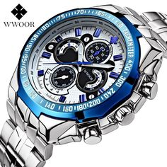 Item Type: Wristwatches,Quartz Wristwatches Case Material: Stainless Steel Brand Name: WWOOR Dial Material Type: Stainless Steel Water Resistance Depth: 30m Dial Window Material Type: Hardlex Movement: Quartz Band Width: 20mm to 29mm Dial Diameter: 4.8cm Clasp Type: Bracelet Clasp Gender: Men Style: Fashion & Casual Condition: New with tags Dial Display: Analog Feature: Water Resistant Case Shape: Round Band Material Type: Stainless Steel Band Length: 22cm Model Number: 8013 Case Thickness: