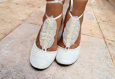 Ruffle Lace Barefoot Sandals Beach Pool  Sandals Wedding