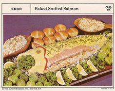 This is demented on so many levels. There's a salmon with a pimento eye and a fake mouth gagging on parsley. Not to mention the weird yellow sauce to resemble skin and scales or the pimientos separating head from body. Retro Recipes, Vintage Recipes, Ethnic Recipes, Vintage Food, Vintage Cakes, Gross Food, Weird Food, Scary Food, Bad Food