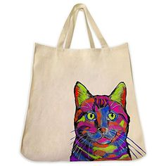 Domestic Short Hair Cat Graffiti Color Urban Style Tote Bag  Extra Large Cotton Twill Eco Friendly Reusable Handbag  Made By Tote Tails ** Click on the image for additional details.-It is an affiliate link to Amazon.