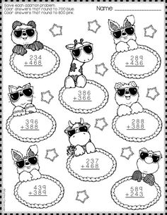 Summer Addition with Regrouping Color-by-Code Printables Need extra addition practice? Math Practice Worksheets, School Worksheets, Math Resources, Math Activities, Cute Coloring Pages, Math Numbers, Math Stations, Teacher Tools, Elementary Math