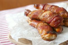 Sweet and spicy bacon-wrapped chicken (I've made this and it's awesome!) I made mine on the grill, used boneless breast (cut in half or a third longways) and tried again with bone in....all were great! also added garlic powder, sea salt and pepper.