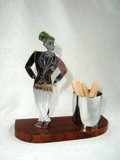 Art Deco French Man Macassar Ebony & Bakelite Cigarette Holder