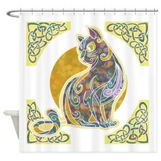 Artistic Cat Shower Curtain on CafePress.com