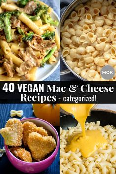 Forty of the best vegan mac and cheese recipes, broken down by category: classic, creative, healthy, and quick/easy! #recipelist #dairyfree #reciperoundup #veganmacandcheese Easy Vegan Mac And Cheese Recipe, Mac And Cheese Sauce, Stovetop Mac And Cheese, Macaroni N Cheese Recipe, Cheese Recipes, Dairy Free Recipes, Vegan Recipes, Fat Free Vegan, Pumpkin Mac And Cheese