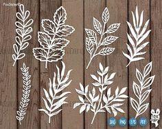 Leaf Svg Branches Svg File 8 Designs SET 1 hand drawn svg