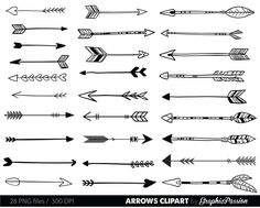 Arrows clip art, tribal arrow clipart, archery hand drawn arrows, doodle drawing tribal digital INSTANT DOWNLOAD by GraphicPassion on Etsy https://www.etsy.com/listing/230115936/arrows-clip-art-tribal-arrow-clipart