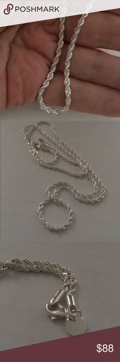 Finejewelers 16 Inch Sterling Silver 1.3mm Loose Rope Chain Necklace