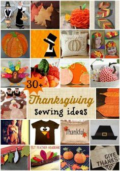 Some really original Thanksgiving sewing ideas I've not seen anywhere else. Plus links to lots more from previous years. Sewing Projects For Beginners, Crafty Projects, Sewing Patterns Free, Sewing Ideas, Sewing Tutorials, Fall Crafts, Holiday Crafts, Thanksgiving Blessings, Thanksgiving Projects