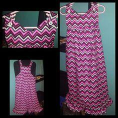 Custom order Girls dress pink chevron size 5 -nTICing dEsigns