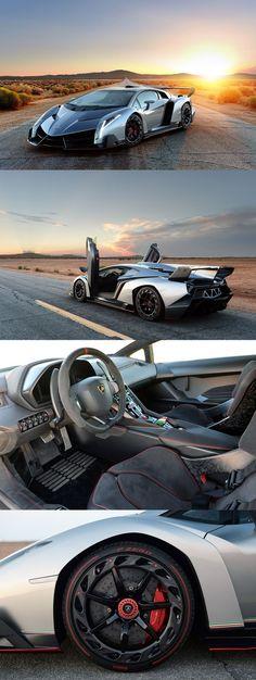 Superesportivo Lamborghini Veneno. Supermáquina: Pneus PZERO Pirelli, um motor V12 6.5 aspirado, com 760 cavalos de potência, um câmbio automático de 7 marchas capaz de alcançar 355km/h e vai de 0 a 100 km/h em 2s8!