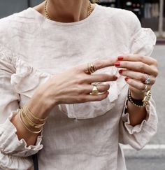 Incredibly jewelry overlay, minimalist jewelry, ruffled top, red nails, my . - Women's Jewelry and Accessories-Women Fashion Gold Jewelry, Jewelery, Jewelry Accessories, Women Jewelry, Fashion Jewelry, Stylish Jewelry, Fine Jewelry, Dainty Jewelry, Jewelry Box