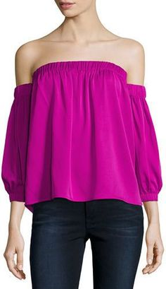 0f3ecf41e13f5 Milly Off-the-Shoulder Stretch-Silk Blouse Bishop Sleeve