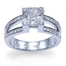 "Shiree Odiz  // ""Utopian Dream"" Split Shank Natural Cushion Cut Diamond Engagement Ring"