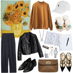 Publisher by akkiz on Polyvore featuring Vivienne Westwood Red Label, Montblanc, Valentino, Topshop, Mulberry, TAG Heuer, Ralph Lauren, Essie and Assouline Publishing leather jacket, mustard top, black shoes, beige bag