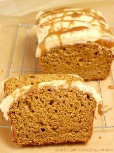 Pumpkin Bread with Salted Caramel Drizzled Pumpkin Buttercream - A Kitchen Addiction