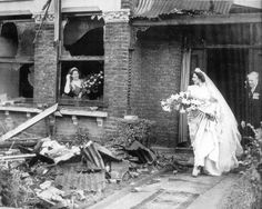 """London, November 5, 1940. The bride walks out of her bombed-out house. From the book """"The Wedding Dress: 300 Years of Bridal Fashions"""" by Edwina Ehrmann.  http://www.amazon.com/The-Wedding-Dress-Bridal-Fashions/dp/1851775064"""