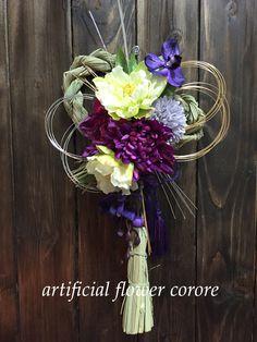 紫のマムと蘭のモダンしめ縄♡