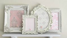 COLLECTION of MAGNET BOARDS Girls Nursery Wall Decor Pink White Ivory Vintage Picture Frame Collage Set Damask Shabby Chic Unique Baby Gift. $169.00, via Etsy.