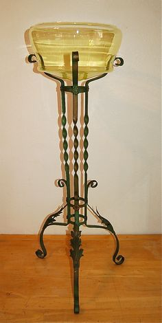 42'' Art Deco Vaseline Glass Painted Iron Floor Standing Fish Bowl Art Deco | eBay